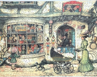 Hand Cut Wooden Anton Pieck Jigsaw Puzzle - The Toy Shop - (380 pieces) with Plywood Storage Box