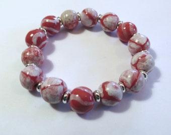Beaded Bracelet, Kazuri Bangle, Fair Trade, Ceramic Jewellery, Pink and White Bangle