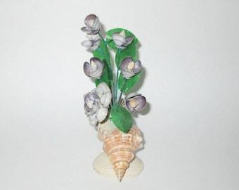 Vintage Purple Floral Shell Sculpture