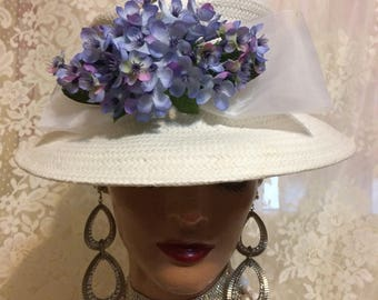 Beautiful White Straw Hat With White Ribbon and Lavender  Flowers