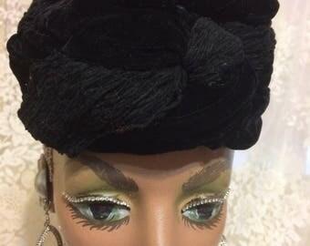 Black Velvet Pillbox Hat