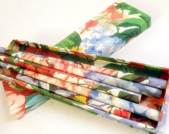 Vintage Box of Pencils Floral Wrapped Matching Box Desk Accessory Kitschy