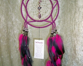 STAR - 7 Inch OOAK Dreamcatcher in Magenta and Purple by FeatheredDreams1