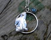 Silver Moongazing Hare Pendant with Labradorite