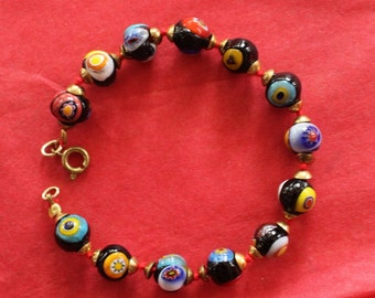 Murano Italian Millefiore Bead Bracelet