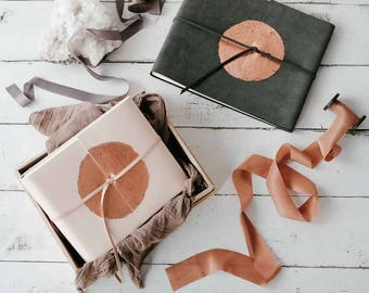 Natural Leather Album w/Moon-shaped Copper Leafing - The Copper Leaf Wrap Book