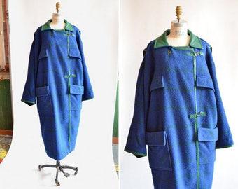 Vintage 1980s HILARY RADLEY avante garde wool blanket coat