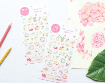 PVC Sticker Flower Crown Rabbit 2 MN-S15 Made In Korea Can used to making Resin Accessories
