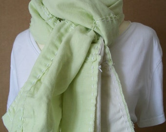 Reclaimed Pale Spring Green Linen Scarf, Wabi-Sabi Stitched