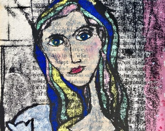 Giclee Print of an original artwork hand coloured monoprint Girl With Cat