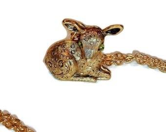 Vintage Deer Locket, Perfume Locket, Animal Locket, Little Fawn Locket, Pill Box Necklace,Max Factor,Green eyes, vintage locket
