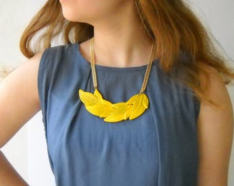 Yellow Leaf statement Necklace, bold Gold Chain handmade art jewelry, Unique necklace for her