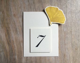 Gold Ginkgo Wedding - Table Numbers - Table Tents, Gingko wedding decoration - Ginkgo Card