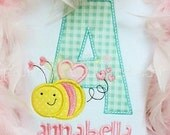 Sample Sale Bee Valentine Shirt, Monogrammed Bee Personalized, Appliqued, Short or Long Sleeve Shirt, Totally Custom, Name Embroidered