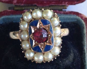 SALE - Antique Georgian (1805) Mourning Ring with Seed Pearls and Blue Enamel - Sz 6.5