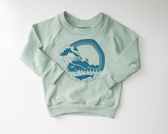 Pacific Coast Explorer Organic Long Sleeve Raglan | Hand Made | Long Sleeve | Unisex Kid | Baby Sweater | Gender Neutral | Hipster Babies