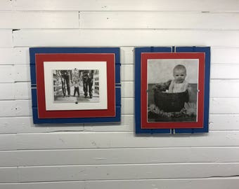 "Blue and red picture frame holds 5""x7"" or 8""x10"" Chicago Cubs/LA Clippers/Phildphia Phillies"