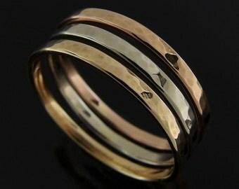 Hammered 14k Tricolor Gold Stack Ring Set, 14k Gold Ring Set, Gold Stacking Ring Set, Gold Stacking Band Set, 2 x 1 mm, Polished Finish