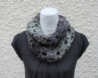 SCARF infinity, lace loop scarf, womens grey snood, neckwear, gift for her, knitwear uk