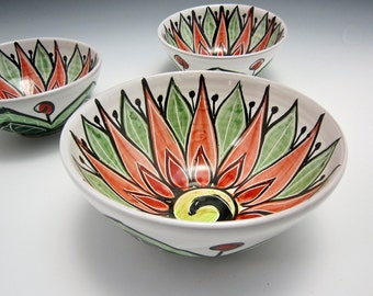 Medium Small Ceramic Serving Bowl - Red Green Lotus Flower - Majolica Pottery- Kitchen Bowl - Clay Bowl - Mandala Pattern - Holiday decor