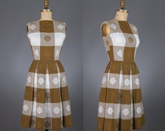 1950s vintage dress | brown and white