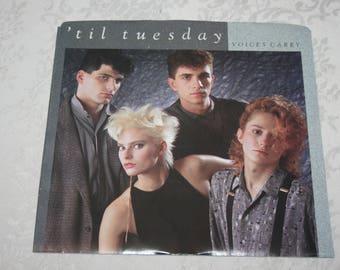 Vintage 45 RPM Record 'til tuesday Voices Carry 1985 Epic CBS Records
