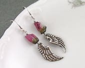 Watermelon tourmaline wing earrings, handmade recycled sterling silver earrings-OOAK October birthstone