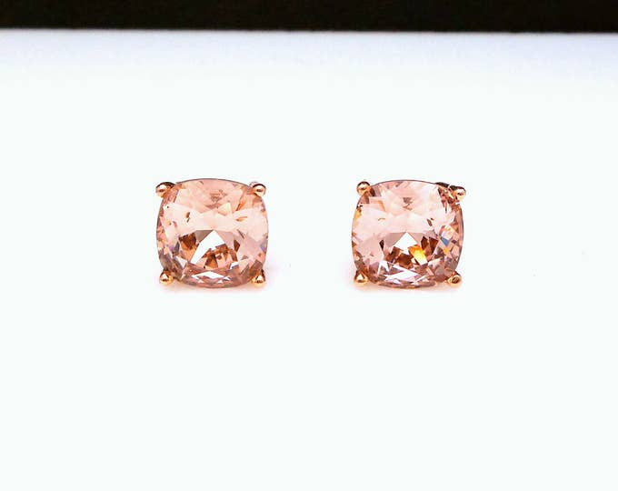 christmas prom bridal wedding bridesmaid jewelry gift Swarovski vintage rose square cushion cut rhinestone rose gold stud post earrings