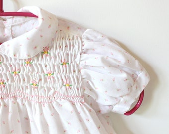 vintage girl's dress 80's children's clothing white pink floral print size 3 6 mos months