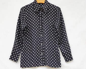 Vintage 70s Polka Dot Print Blouse By Koret California/Retro/High Fashion