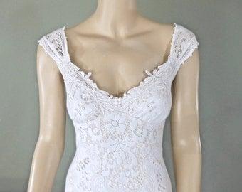 White Lace Wedding Dress Boho Wedding Dress Vintage Inspired Wedding Dress Cap Sleeve BOHEMIAN Wedding Dress Sz Small