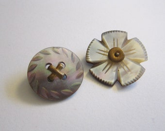 2 vintage carved shell buttons with metal shanks - carved flower button - brass shank