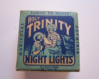 vintage HOLY TRINITY night lights - box with wax wicks