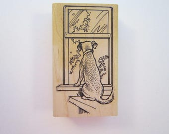rubber stamp - DOG at window, pet looking out window