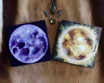 Sun and Moon. Pair of ORIGINAL PAINTINGS by Annie Kyla Bee. Sun and Moon art Balance Solar Lunar Sun Moon Paintings