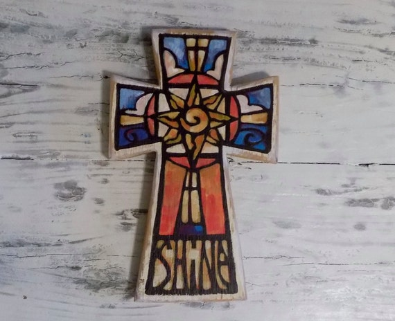 Hand Painted Let Your Light Shine Wood Cross - Decorative Wall Cross
