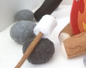 ON SALE 2 Marshmallows on sticks felt food play set