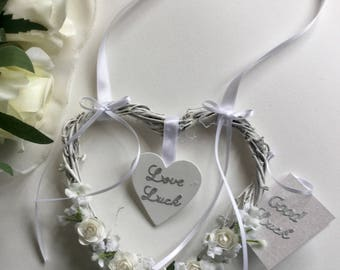 Wedding bride & groom good luck shabby chic heart keepsake gift