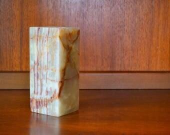 vintage macedonian onyx stone candle stick holder / stone candle holder / vintage home decor