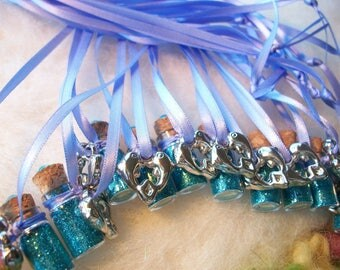 Dolphin Party Favors, 10 Blue Dolphin Party Favors Blue Ocean Beach Mermaid Party Thank You Gift Happy Birthday  Necklace