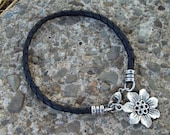 Reserved for mojoke1 - black Bola Leather Bracelet with Bohemian Flower charm - Silver - braided brown leather bracelet - stacking bracelet