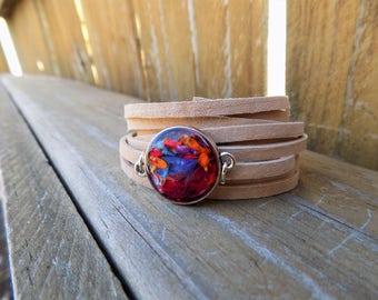 Wrap Bracelet, Choker, Real flowers,Suede bracelet, Leather Jewelry, Women accessories, boho, bohemain, hippie, leather bracelet, spring