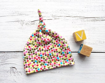 Polka Dots Baby Hat, Baby Girl Hat, Multi Color Dots Baby Hat, Knotted Baby Hat, Polka Dot Hat, Newborn Girl Hat