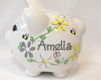 Daisy Flowers in Yellow and Gray with Bees and Butterflies Personalized Piggy Bank