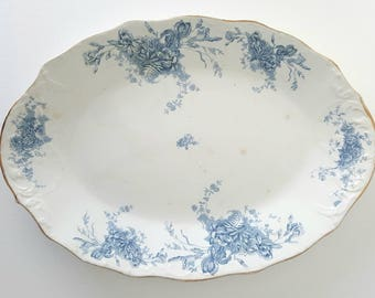 Vintage LARGE Blue and White Floral CHINA PLATTER. English Porcelain Royale Pitcairns Limited Clieveden Ironstone Platter.