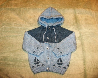 Hoody in blue with Sailboat Border and Sailboat Buttons