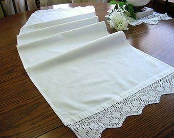 Vintage all White Runner Dresser Scarfs with Wide Hand Crochet Lace Trim - 2 sizes available 15x46 & 20x40