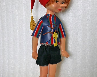 "Vintage Russian Doll - Pinocchio Buratino - with Original Clothes - 21"" inches - 1980s - from Russia / Soviet Union / USSR"