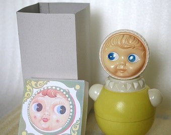 Vintage Roly Poly Ding Doll - Nevalyashka - 27cm - Red - 1983s - from Russia / Soviet Union / USSR