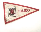 Toledo Spain Souvenir Pennant, Small Vintage Flag in White and Red